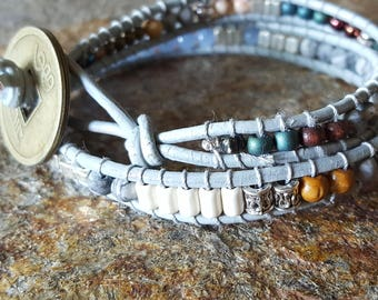 OCONEE Leather Double Wrap Bracelet with Brass Coin and Beautiful Beads
