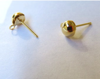 NEW 100 6mm Gold Plated Half Ball Stainless Steel Earring Post with Loop -  With or Without Backs