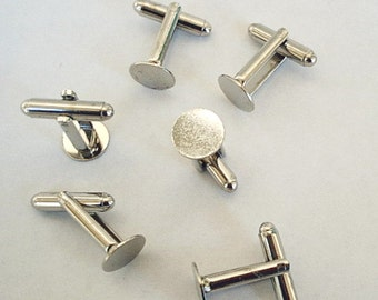12 Cuff Links with Glue Pad  10mm  Silver Tone