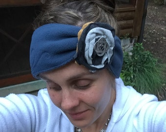 READY to SHIP Embroidered REVERSIBLE Fleece Headband Ear Warmer swith and Removable Flower Anti-pill water resistant polar fleece