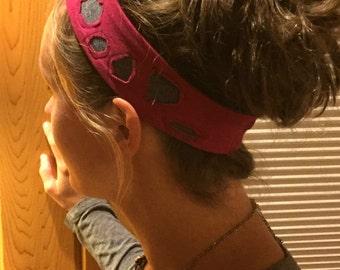 Circle Cutout REVERSIBLE cotton/spandex Headband Running Headband