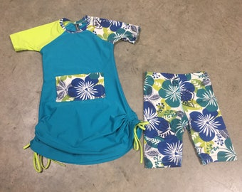 Home Run Modest Girls Swimdress ADJUSTABLE length-Ultra CHLORINE RESISTANT option