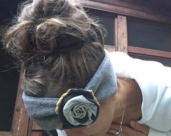 REVERSIBLE Fleece Headband Running Headband with flower Anti-pill water resistant Polar Fleece Ear Warmers