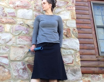 SALE-READY to SHIP size xs Black - Straight A Skirt Cotton Lycra Athletic Skirt