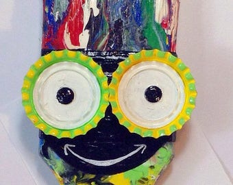 Happy Paint Brush #35 ,Limited Edition Funky Outsider Folk Art Paint Brush Creation, Bottle Cap and Paint Brush Art
