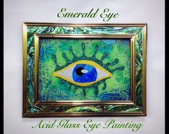 """All Seeing Eye Acid Glass Painting """"Emerald Eye"""", Abstract Eye Reverse Painting on Glass, Metaphysical Art"""