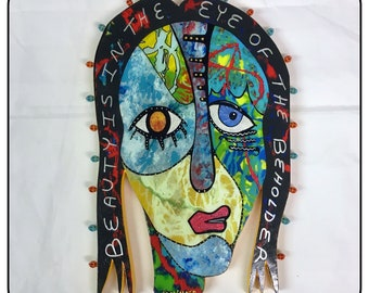 """Outsider Folk Art Wall Hanging, """"Beauty is in the Eye #4, Abstract Outsider Art Portrait, Wood Mixed Media Folk Art by Windwalkrt Art"""