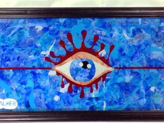 """All Seeing Eye Acid Glass  Painting """"The Linear Eye"""", Reverse Painting on Glass, Abstract All Seeing Eye Original Glass Painting"""
