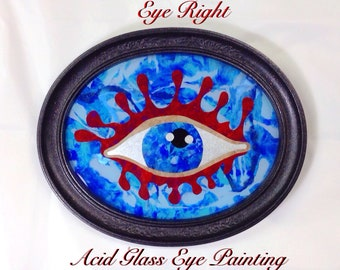 """All Seeing Eye Acid Glass Painting """"Eye Right"""", Oval Framed Reverse Painting on Glass, Abstract Metaphysical Art"""