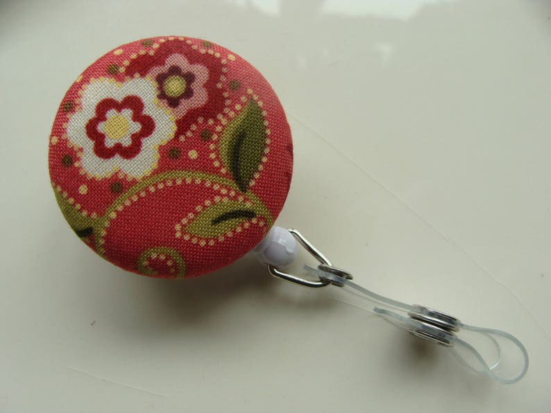 Retractable Badge Reel Paisley /& Flowers on Coral