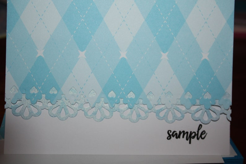 Traditional Blue argyle handcrafted Note Cards personalization may added off