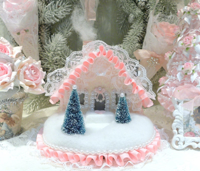 New Faux Iced Pink Gingerbread Cookies Christmas Ornaments~Shabby Chic Cottage