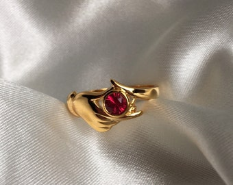 Vintage Gold Plated Red Rhinestone Ring, Vintage Cocktail Ring, Gold Hand Ring, Size 9