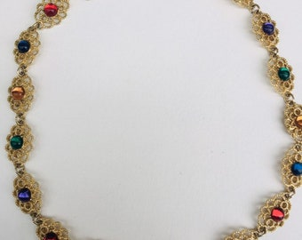 11e9128b7 Vintage Colorful Gold Necklace, Costume Jewelry, Gaudy Antique Jewelry