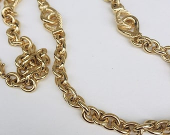 da5e589fdb Vintage Gold Chain Necklace, Gaudy Chunky Costume Jewelry, Antique Jewelry