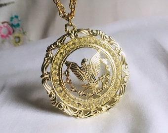 83ecd57a7 Vintage Bird Necklace, Gaudy Jewelry, Eagle Necklace, Costume Jewelry,  Antique Jewelry