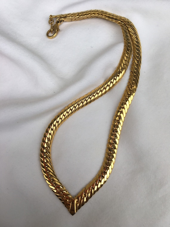Joan Rivers Vintage Gold Chevron V Chain Necklace,