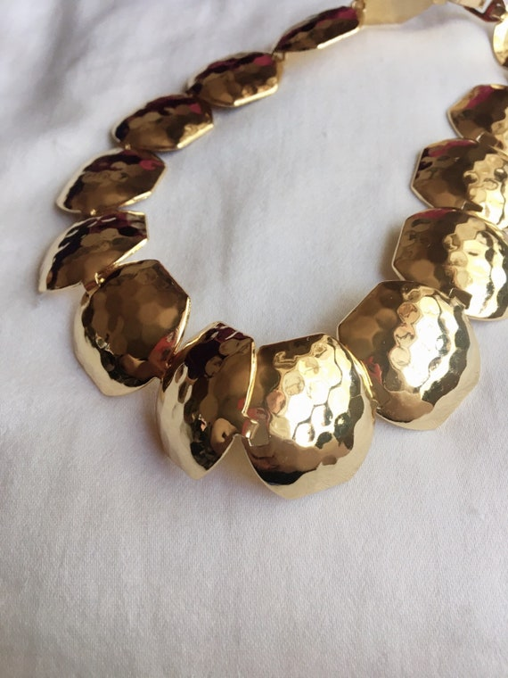Joan Rivers Vintage Chunky Gold Hammered Necklace,
