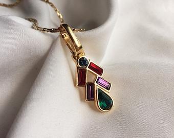 Vintage Gold Sarah Coventry Rhinestone Necklace, Vintage Swarovski, Gold Costume Jewelry
