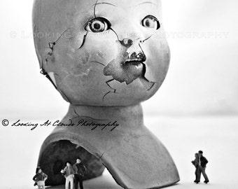 broken doll head, cracked doll art photo, creepy doll with miniatures, freak show, creepy art for cool kids