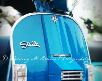 Stella scooter art photo, Vespa, retro modern Italian scooter, city chic wall decor, Audrey Hepburn would approve