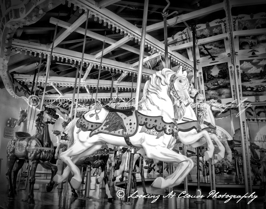 carousel art photo vintage carnival carousel horses black ...