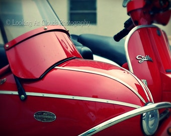 red Stella with sidecar art photo, Vespa scooter, Italian scooter, urban photography, chrome scooter art