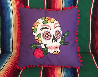 Day of the Dead Sugar Skull Purple Hand Embroidered Calavera Pillow