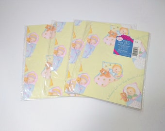 Vintage Baby Shower Gift Wrap Four Unused Sheets Forget Me Not by American Greetings, Wrapping Paper, Gender Neutral