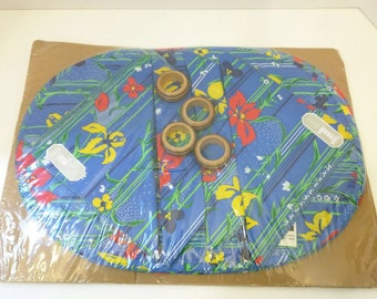 Vintage Blue Red Yellow Floral Stripe Cloth Place Mats Napkins Wooden Napkin Rings 80s New Old Stock