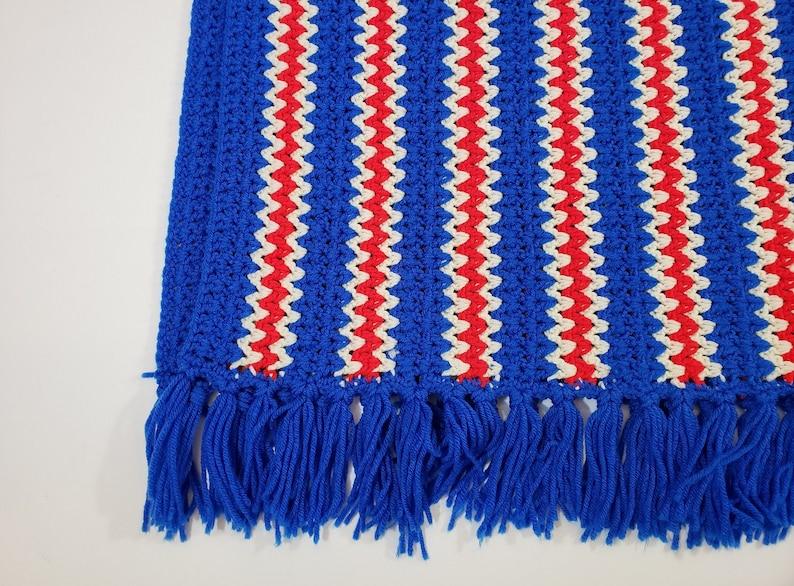 Vintage Red White Blue Patriotic Crochet Throw Blanket Afghan Fringe 80s