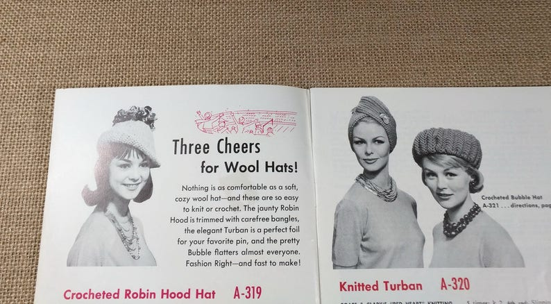 60784a62639 Vintage Coats   Clark Hats Mittens Socks Easy Crochet Simple