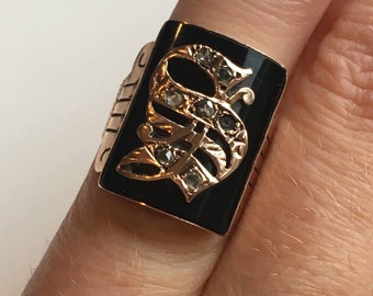 RESERVED Antique Victorian Edwardian 10k Onyx rose gold signet initial ring S with rosecut diamonds 1885