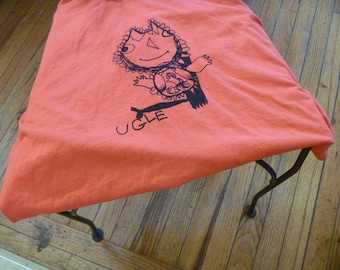 Ugle Norwegian for Owl X-Large Adult shirt in Paprika Designed by Katya