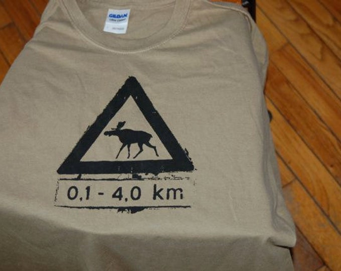 Norwegian Moose Crossing Tshirt Large Adults Light Brown Norwegian Map