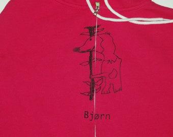 Sale! Bjørn Norwegian Bear Adult Medium zip up hoodie in pink Designed by Vera