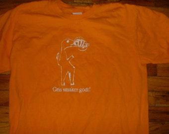 Gris smaker godt Norwegian shirt designed by Vera Pig is Tasty Adult Large Crocodile eating a pig Bright Orange