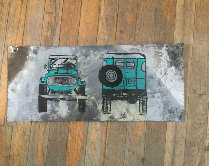 Double Sided Metal FJ40 and FJ55 sign