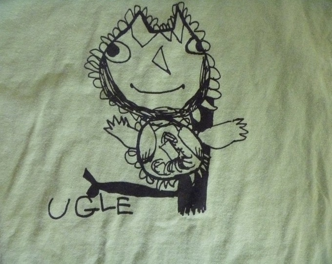 Ugle Norwegian for Owl XL Adult shirt in bright green Designed by Katya