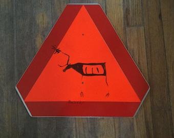 Norwegian Reindeer Crossing Metal Sign
