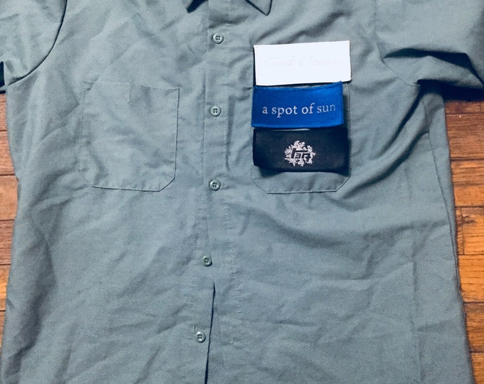 Land Cruiser mechanics shirt 80 series blueprint Hook and loop patch front green