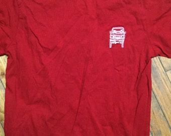 Medium adult FJ60 Series blueprint Land Cruiser LandCruiser red Tshirt