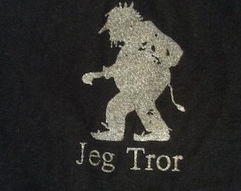 Norwegian Troll Shirt Jeg Tror navy Blue adult short sleeve