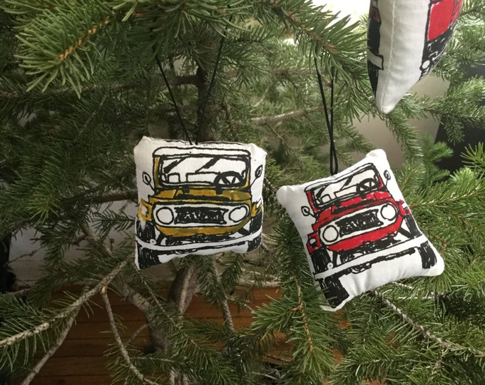 FJ40 Land Cruiser screen printed stuffed  Ornament/Dash Buddy