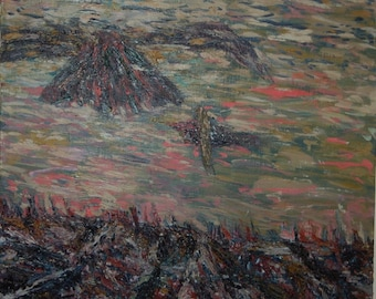 On sale Was 125..00 now 100.00 Untitled Abstract painting, birds over field Oil on Canvas by Scott Torkelson
