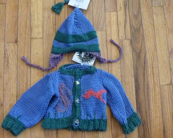Sale! Hand Knit original baby cardigan and hat combo for infants 6 to 12 months Cotton Goldfish