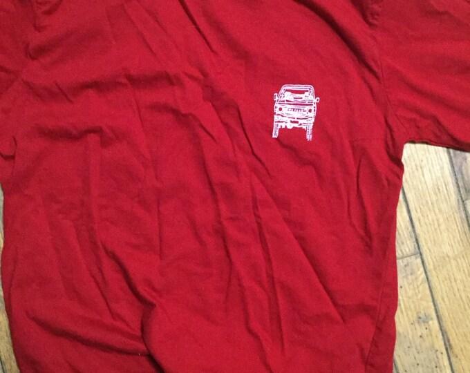 Small adult FJ60 Series blueprint Land Cruiser LandCruiser red Tshirt