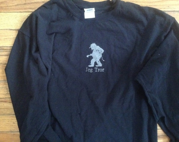 Norwegian Troll Shirt Jeg Tror  Black adult long sleeve
