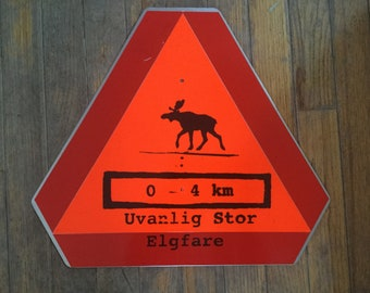 Norwegian Moose Crossing Metal Sign