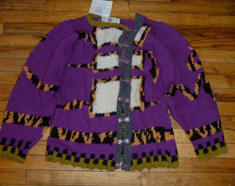Snake motif original hand knit cardigan by Scott Torkelson Norwegian pewter clasps